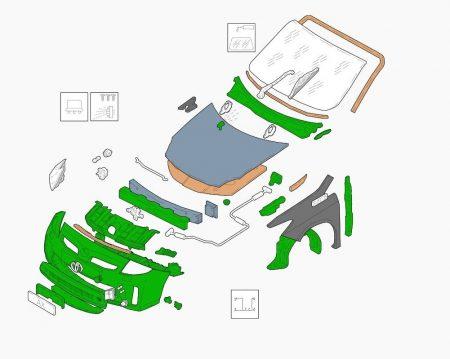 Az Audatex robbantott ábrán láthatók az autó alkatrészei.